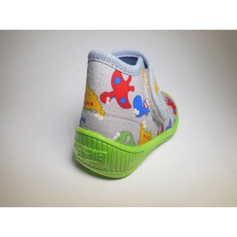 Legero Pantofola Bambino Velcro Grigio disegni multicolor