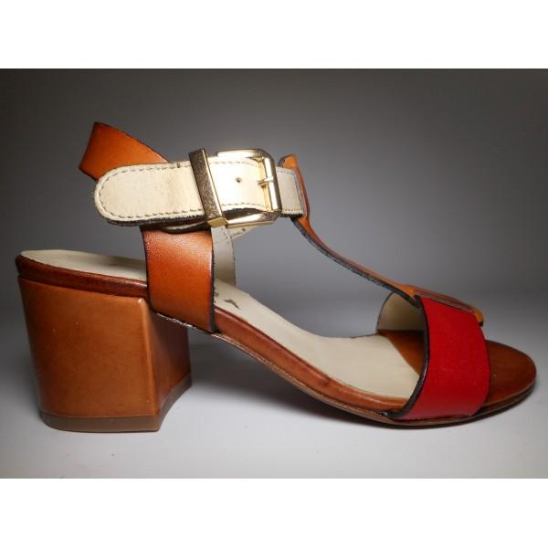Pisapia Sandalo Donna Sandalo t. 50 Cuoio/rosso